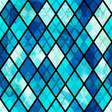 Blue mosaic seamless pattern with grunge effect Royalty Free Stock Photography