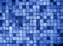 Blue Mosaic. Stock blue mosaic floor. Symmetrical square tiles Royalty Free Stock Photos