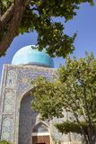 Blue dome and tile of The Registan, Samarkand, Uzbekistan stock image