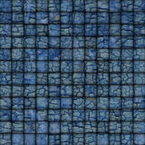 Blue mosaic tile worn old wall floor with cracks Royalty Free Stock Image