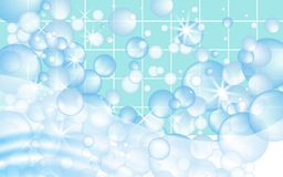 Blue mosaic tiles background with soap bubbles floating. Bathroom or kitchen cleaners ads. Vector vector illustration