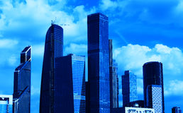 Blue Moscow city business center background. Hd Royalty Free Stock Image
