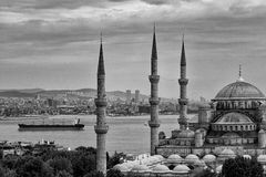 Blue Mosk and Bosphorus Stock Photography