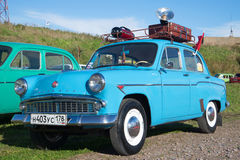 Blue Moskvich-403 on the exhibition of vintage cars in Kronstadt Royalty Free Stock Photo