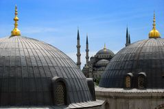 The Blue Mosque. Seen from the upper floor of Hagia Sophia Royalty Free Stock Image