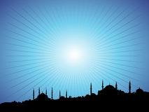 Blue Mosque. Istanbul Silhouette Full of Mosques on Blue Night Stock Photography