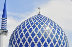The blue mosque. Minaret and dome of the Sultan Salahuddin Abdul Aziz Shah Mosque or commonly known as the Blue Mosque, located at Shah Alam, Selangor, Malaysia Stock Images