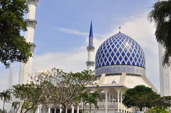 The blue mosque. Minaret and dome of the Sultan Salahuddin Abdul Aziz Shah Mosque or commonly known as the Blue Mosque, located at Shah Alam, Selangor, Malaysia Stock Image