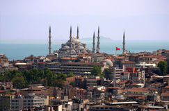 Blue mosque. Overview of Blue Mosque in Istambul over blue sky stock photography