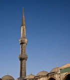 Blue Mosque 6. Minaret on the Blue Mosque in Istanbul against a bright blue sky royalty free stock photography