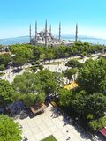 Blue Mosque, Aerial. Blue Mosque and Sultanahmet Square from above. Aerial, Istanbul Royalty Free Stock Photos