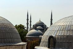 Blue Mosque from Aya Sofia. View of Blue Mosque seen from an Aya Sofia window stock photos