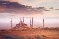 Blue Mosque and beautiful sunset in Istanbul, Turkey Royalty Free Stock Photo