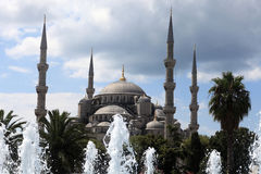 Blue Mosque behind the fountain Stock Photo
