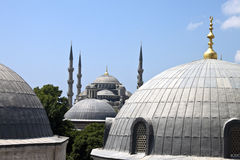 Blue mosque behind Hagia Sofia Stock Images