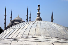Blue mosque behind Hagia Sofia Royalty Free Stock Photos