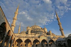 Blue Mosque and Blue Sky. The Blue Mosque, shot from the courtyard.  Located in Istanbul, Turkey.  It was completed in 1616 by Sultan Ahmed I Royalty Free Stock Image