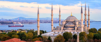 Blue Mosque and Bosporus panorama, Istanbul, Turkey. Panoramic view of the Blue Mosque, Bosporus and Kadikoy skyline on sunset, Istanbul, Turkey stock photography