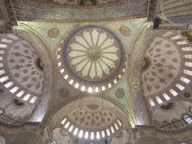 BLUE MOSQUE CEILING, ISTANBUL Stock Photo