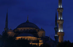 Blue Mosque Close-Up Afterdark Stock Photos