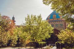 Blue mosque courtyard. Elegant islamic masjid building. Travel to Armenia, Caucasus. Touristic architecture landmark. Sightseeing. In Yerevan. City tour royalty free stock images