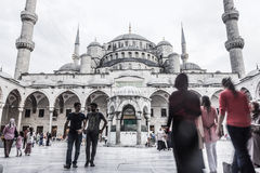 BLUE MOSQUE COURTYARD. Courtyard of Blue Mosque (Sultan Ahmet) during Ramadan stock photography