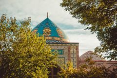 Blue mosque dome. Elegant islamic decorated masjid building. Travel to Armenia, Caucasus. Touristic architecture landmark. Sightse. Eing in Yerevan. City tour stock photos