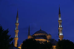Blue Mosque at Dusk. The Blue Mosque illuminated after sunset.  Located in Istanbul, Turkey.  It was completed in 1616 by Sultan Ahmed I Royalty Free Stock Images
