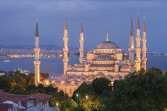 The Blue Mosque at dusk, Istanbul. Turkey. Elevated view of the Blue Mosque at dusk, Istanbul. Turkey Stock Images