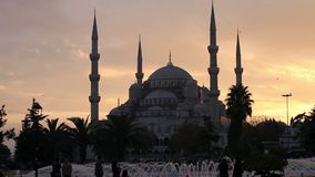 Blue Mosque at dusk stock video footage