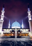 Blue Mosque exterior view with lighting during night time royalty free stock photo