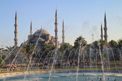 Blue mosque and fountain Stock Images