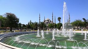 Blue Mosque and fountain in Istanbul, Turkey stock video
