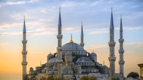 Blue mosque in glorious sunset, Istanbul, Sultanahmet park. Stock Photo
