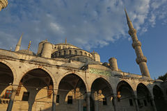 Blue Mosque in Golden Light. The Blue Mosque, shot from the courtyard.  Located in Istanbul, Turkey.  It was completed in 1616 by Sultan Ahmed I Stock Photos