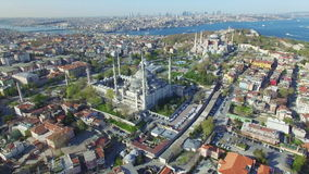 Blue Mosque and Hagia Sophia in Istanbul stock video footage