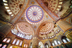 Blue Mosque Interior. Blue Mosque ( Turkish: Sultan Ahmet Cami) interior architecture in Istanbul, Turkey Stock Photo
