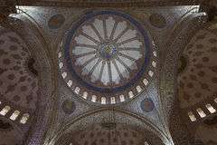 Blue Mosque Interior. Blue tile ceiling of the Blue Mosque, Istanbul, Turkey Royalty Free Stock Image