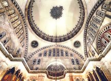 Blue Mosque interior. Also know as the Sultan Ahmed Mosque, it is historic mosque in Istanbul, Turkey Royalty Free Stock Photos