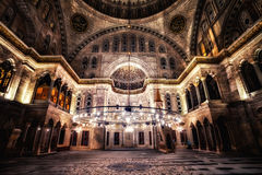Blue Mosque interior. ISTANBUL - JUN 18: Blue Mosque interior. Also know as the Sultan Ahmed Mosque, it is historic mosque in June 18, 2015 in Istanbul, Turkey Stock Photos