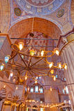Blue mosque interior in Istanbul Turkey. Architecture religion background Royalty Free Stock Image