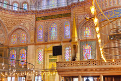 Blue mosque interior in Istanbul Turkey. Architecture religion background Royalty Free Stock Photo
