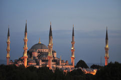 The Blue Mosque - Istanbul. View of the Blue Mosque in Istanbul at sunset illuminated with the Sea of Marmara in the background Stock Photos