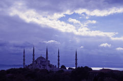 Blue Mosque Istanbul. Magical picture of the silhouette of the blue mosque in Istanbul, Turkey Royalty Free Stock Photography