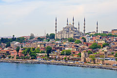 Blue Mosque and Istanbul. View from Bosporus strait Royalty Free Stock Photo
