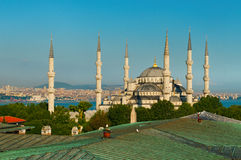 Blue Mosque Istanbul. Six tall minarets and the central dome of the historic Blue Mosque, Istanbul, Turkey Stock Photography