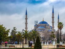 Blue Mosque of Istanbul as seen from the streets of Istanbul stock photo