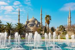 Blue Mosque in Istanbul. Blue Mosque and fountain landmarks of Istanbul royalty free stock photo