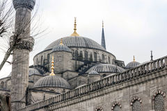 The blue mosque of Istanbul. The blue mosque is a magnificent building dating from the 17th century with enormous domes Royalty Free Stock Photography