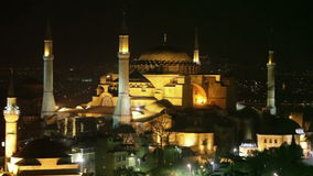 Blue mosque Istanbul. At night stock video